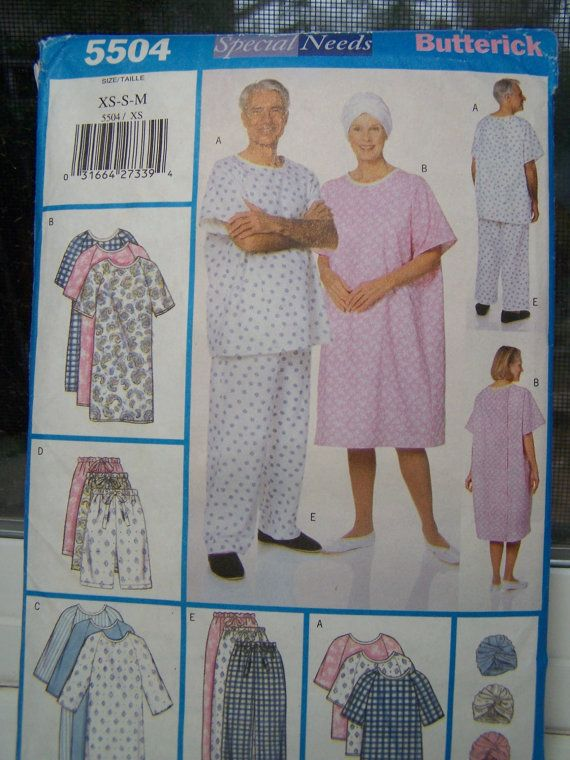 Butterick 5504 Unisex Sewing Pattern Sleep Gown By Witsenddesign
