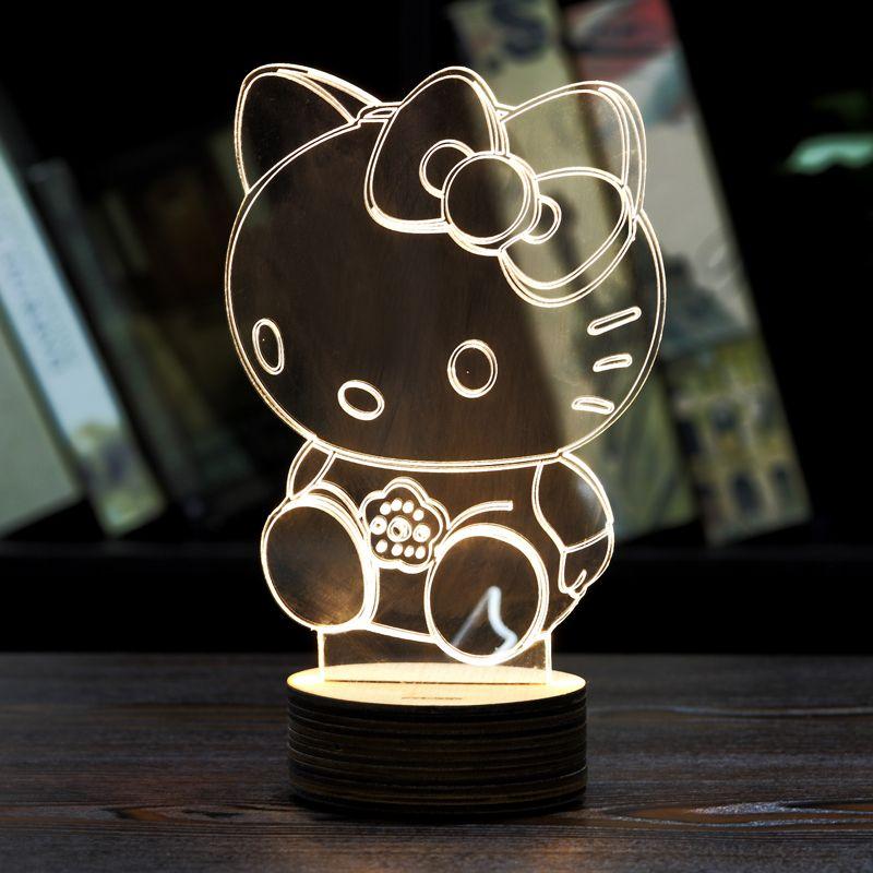 Moza 1piece 3d Hello Kitty Night Lamp Acrylic Wood Mood Lamp Bulbing Night Light Letreros Acrilicos Lamparas 3d Disenos De Unas