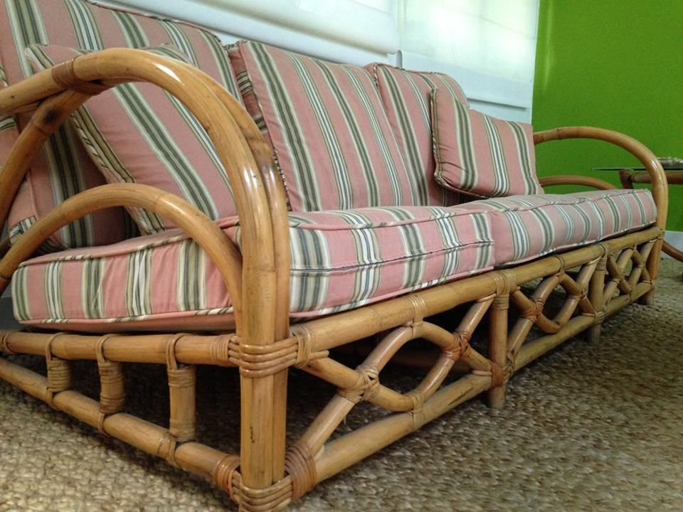 Paul Frankl Style Bamboo Mid Century Modern Retro Tiki Patio Sofa Daybed  Vintage