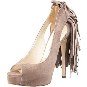 Brian Atwood VERNER Suede Fringe Platform Peep Open Toe Pumps Shoes Grey $1,155 #BrianAtwood #PumpsClassics
