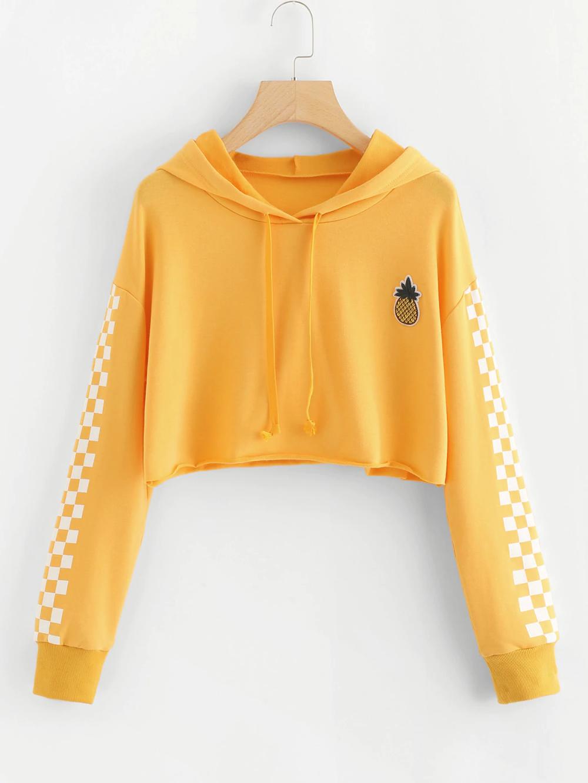 Pineapple Embroidered Gingham Crop Hoodie Cropped Hooded Sweatshirt Crop Shirt Crop Top Outfits [ 1332 x 1000 Pixel ]