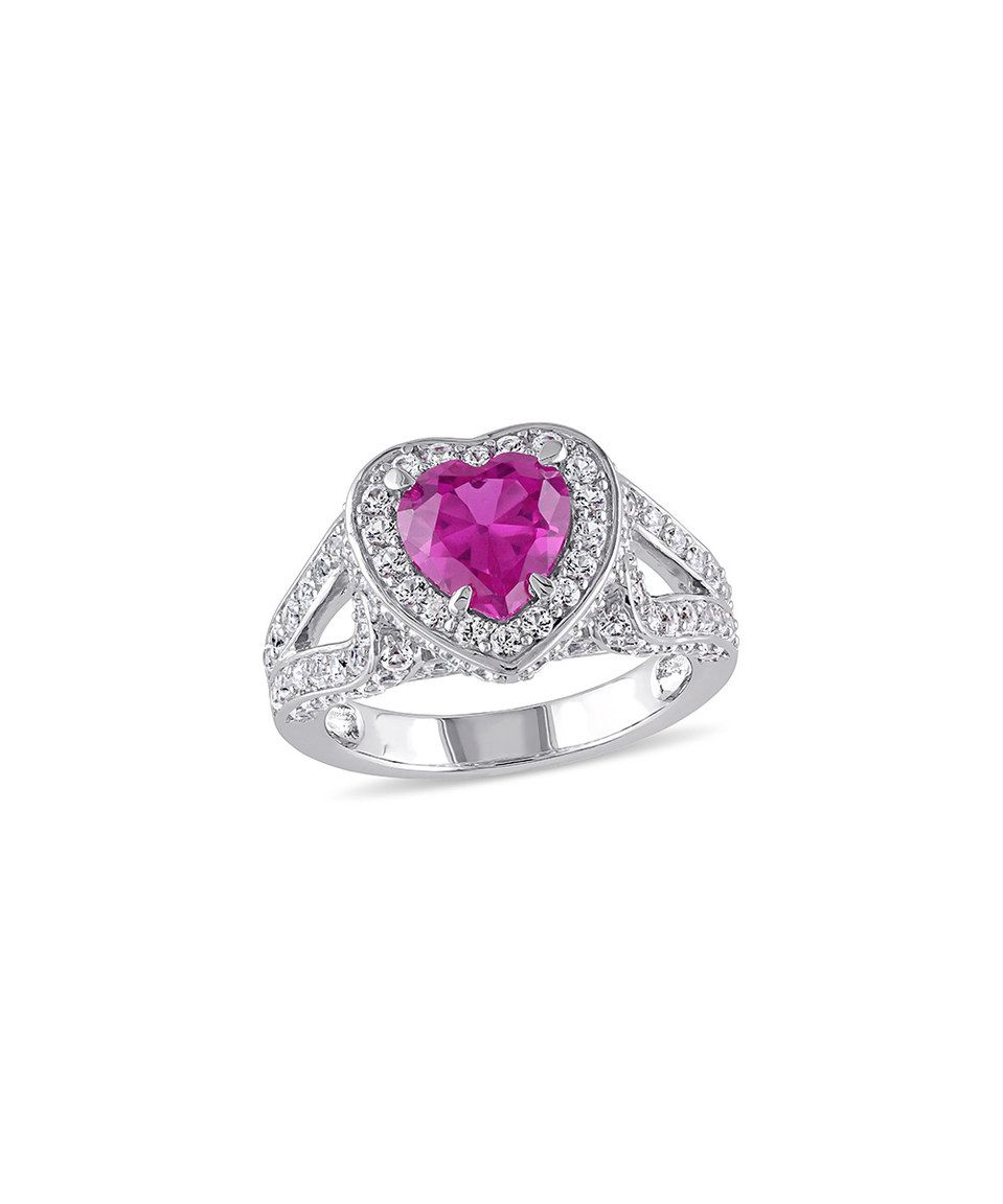 This Pink & White Sapphire Heart Ring by Delmar is perfect! #zulilyfinds