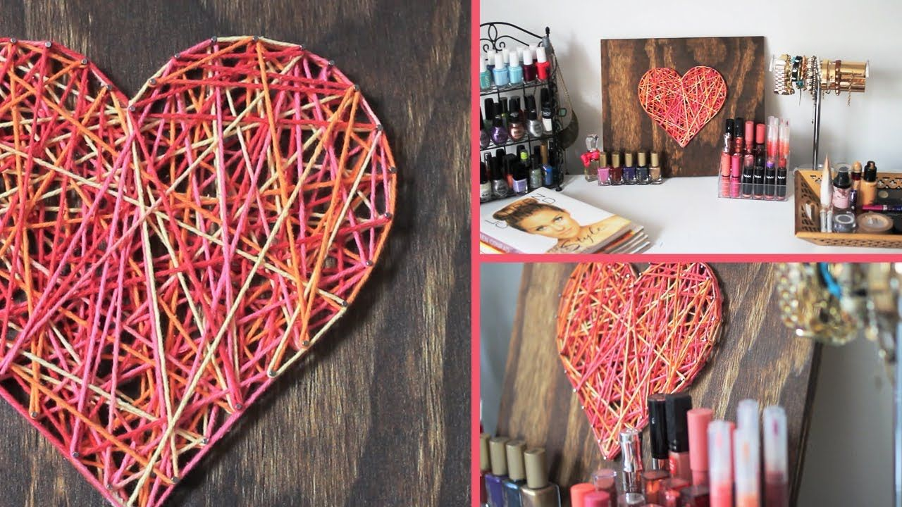 Diy valentine 39 s day room decor gift idea string art - Valentine day room decoration ...
