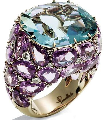 Pomellato's 18-karat white-gold Pom Pom ring with a faceted aquamarine