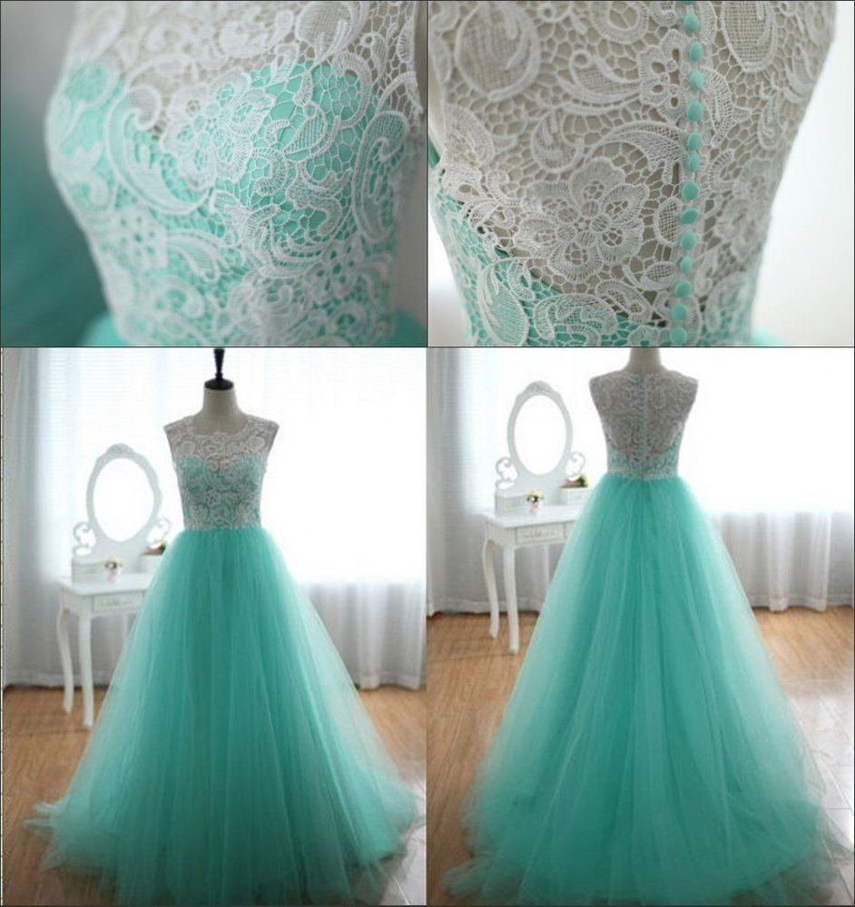 Stock us size mint tulle bridesmaid prom dress party formal evening