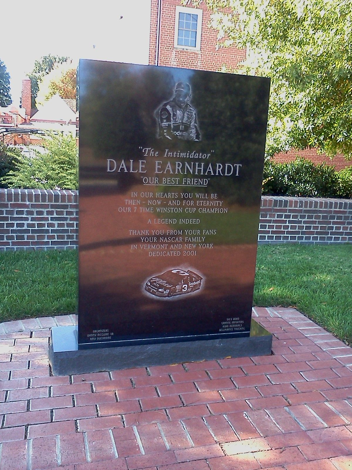 Memorial Dale Earnhardt Nascar Driver And Champion 3 Located
