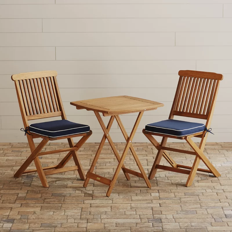 Heather Ann Creations Isla Collection Bohemian 3 Piece Bamboo Bistro Set with Seagrass Weave Natura//Brown