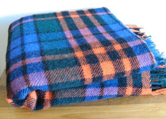 Vintage Colorful Plaid Wool Throw/Blanket by MarketHome on Etsy, $48.00