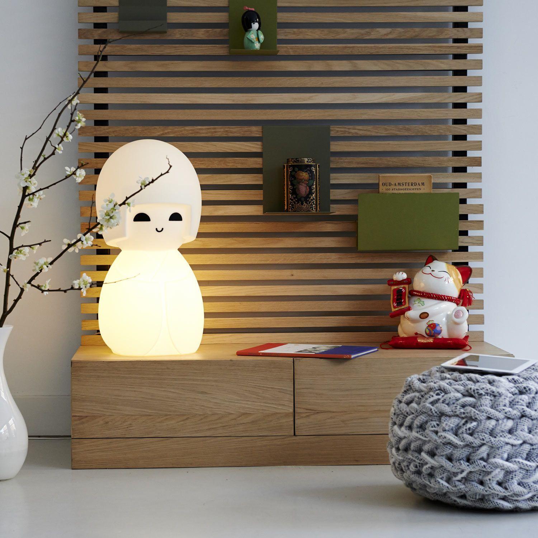 Mr maria kokeshi lampe à poser poupée blanc h63cm