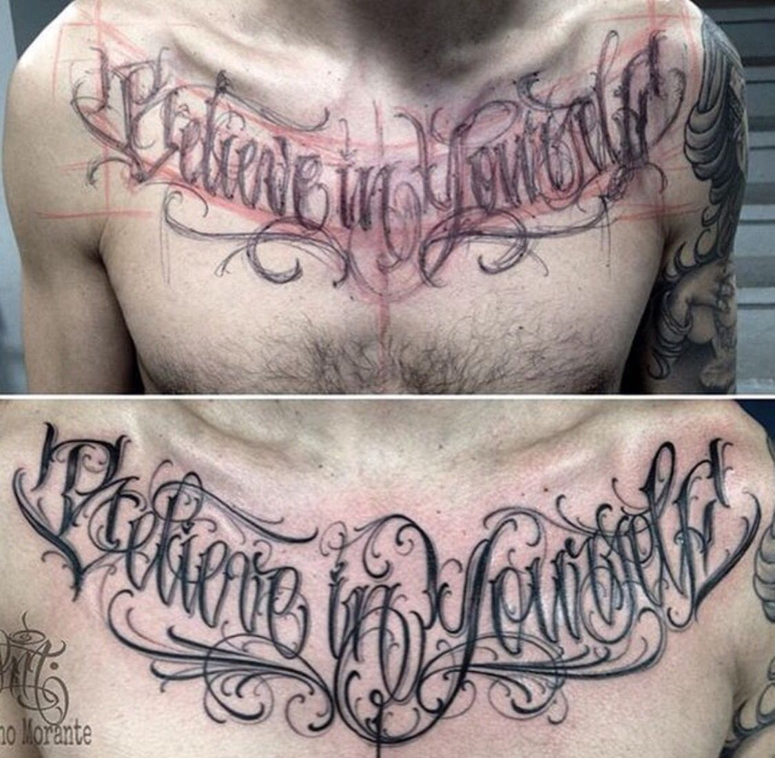 Believe in yourself chest lettering tattoo