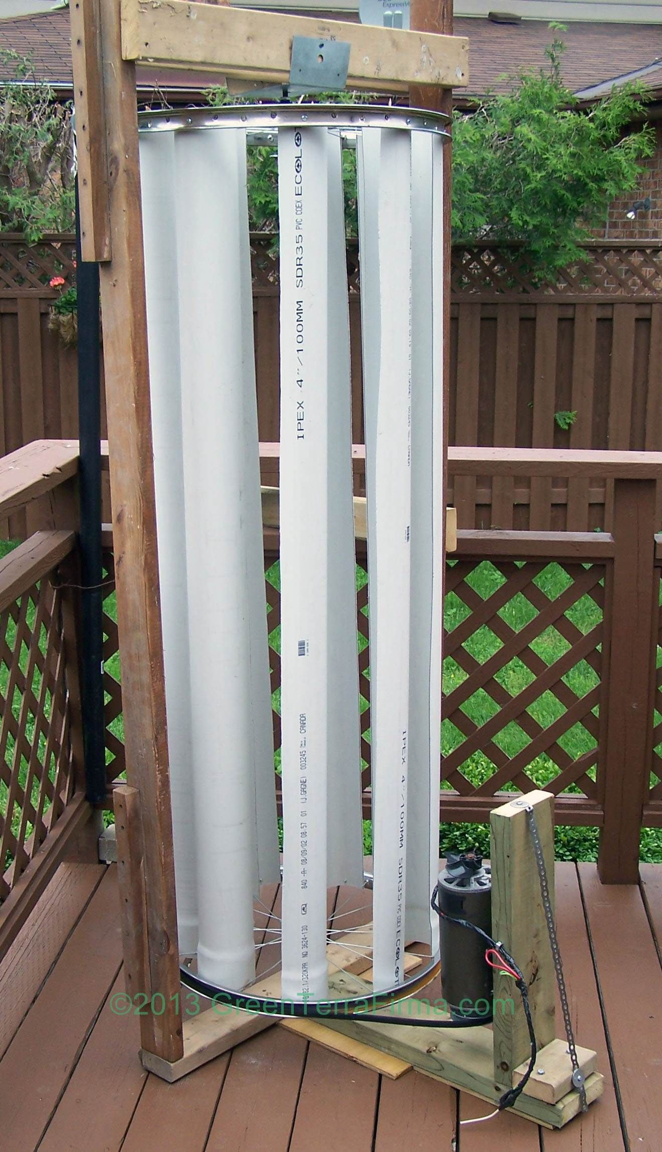 DIY Vertical Axis Wind Turbine fashioned from pvc pipe discarded