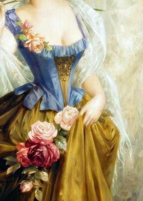 Sadness and classic art, A Lady with Flowers, Detail. A Central European...