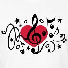 I love music muzyka serce notatka klasyczny chór Tee shirts