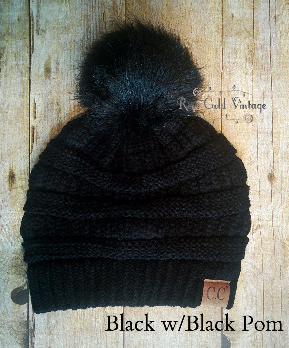 90fde49a4d5 A little twist on the popular CC beanie hats - a faux fur pom pom on