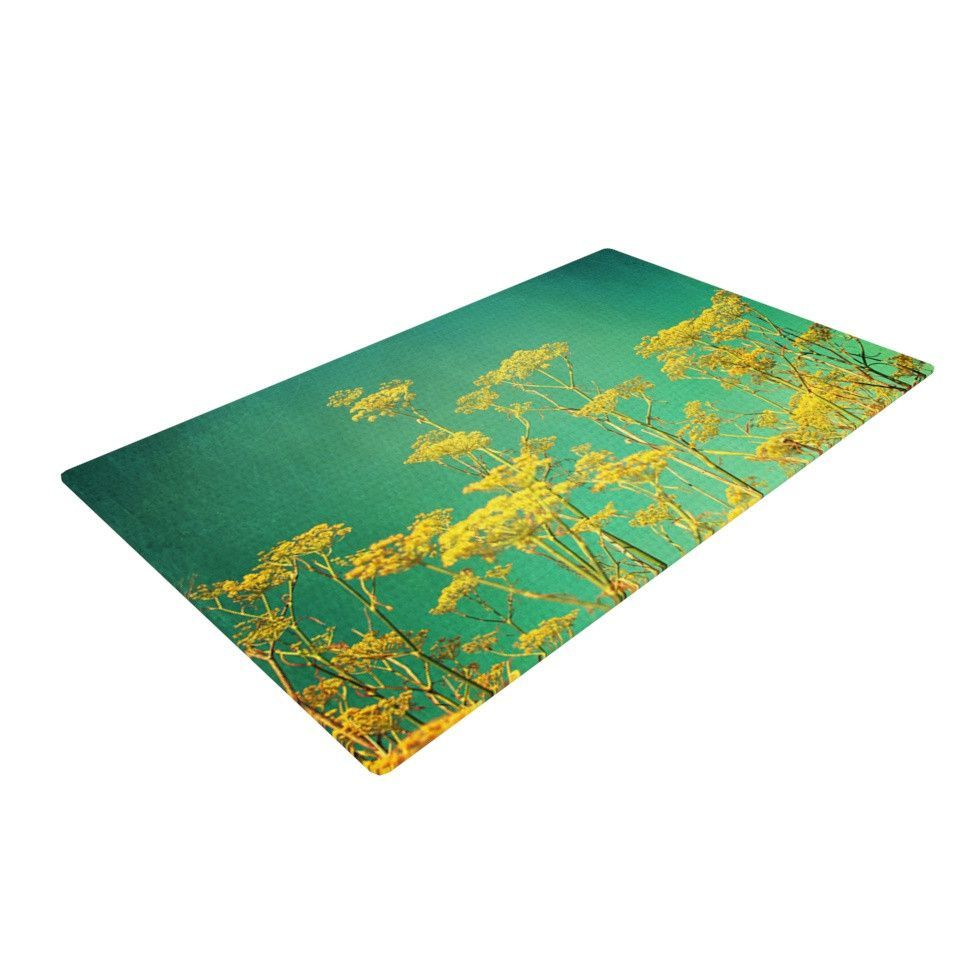 """Sylvia Cook """"Yellow Flowers"""" Teal Sky Woven Area Rug"""