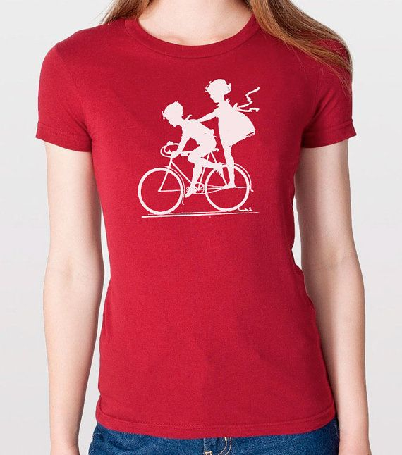 40a5303b5cd Women's T Shirt Vintage Graphic Children Biking T-shirt Wife Gift ...