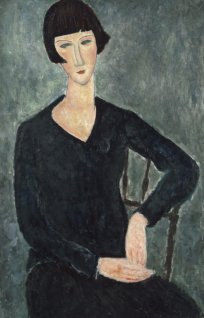 Peinture femme robe bleue