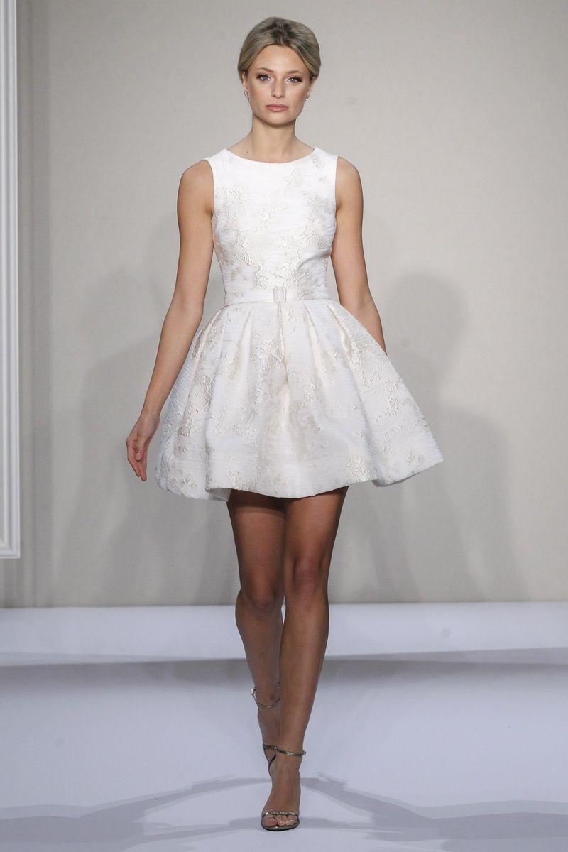Textured A-line short wedding dress by Dennis Basso | wedding stuff ...