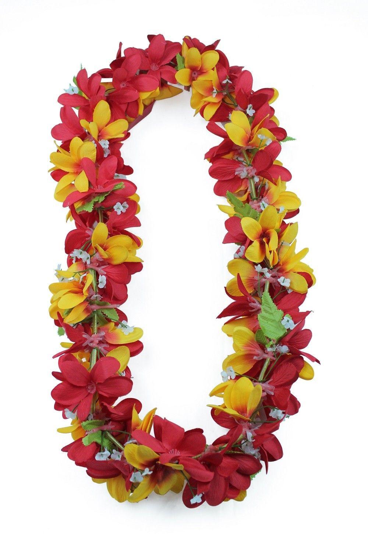Hawaii luau party artificial fabric plumeria flower lei red yellow hawaii luau party artificial fabric plumeria flower lei red yellow mightylinksfo