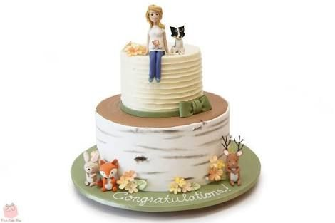 Cute woodsy baby shower cake