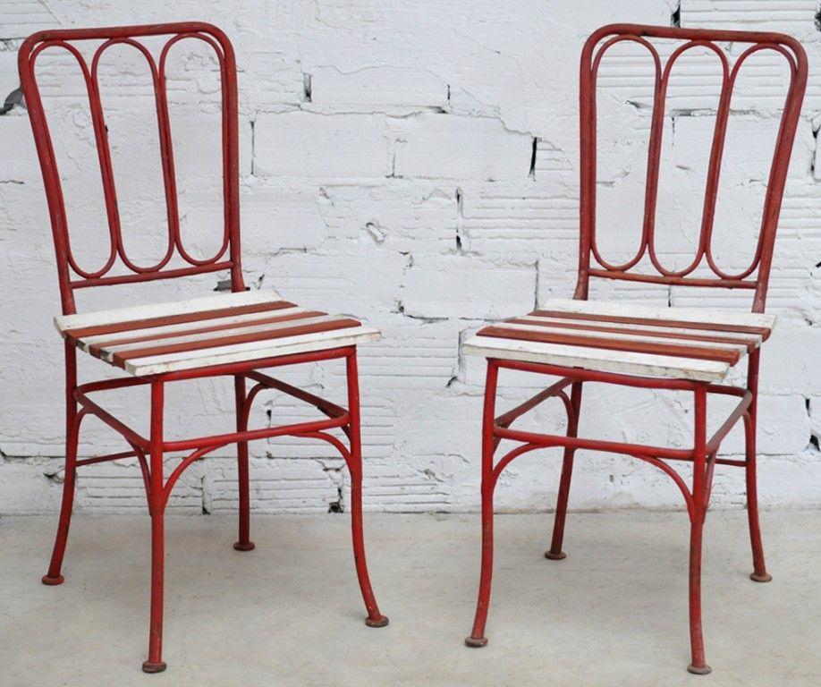 Chaises vintage en fer forg meubles anciens mobilier d co jardin d co retro outdoor indoor - Mobilier de jardin fer forge ancien ...
