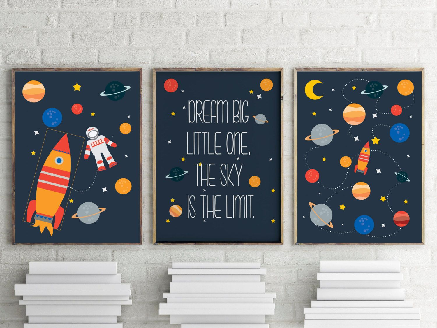 Rockets, astronaut, planets and stars quote prints for kids