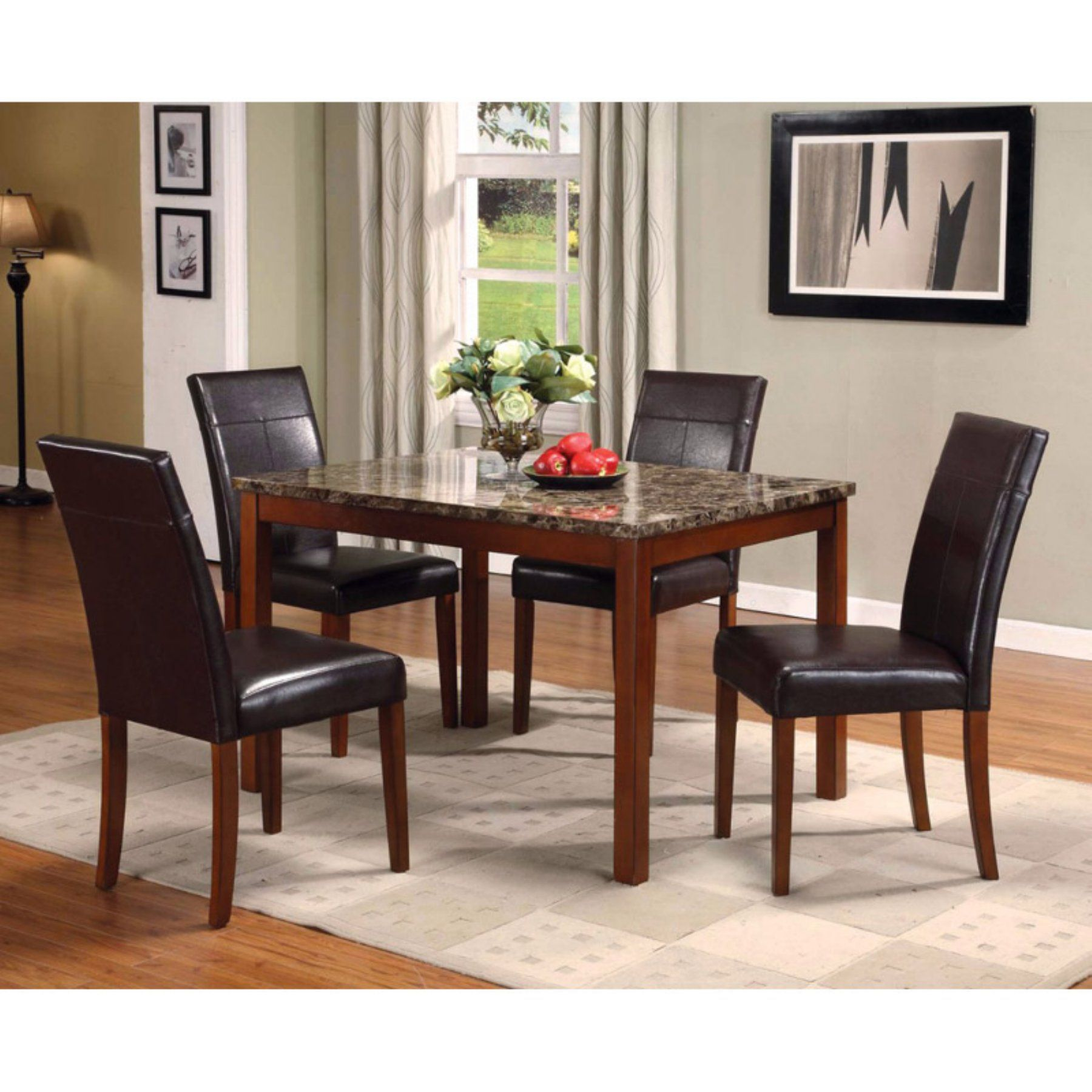 Benzara 5 Piece Faux Marble Dining Table Set Marble Dining Table