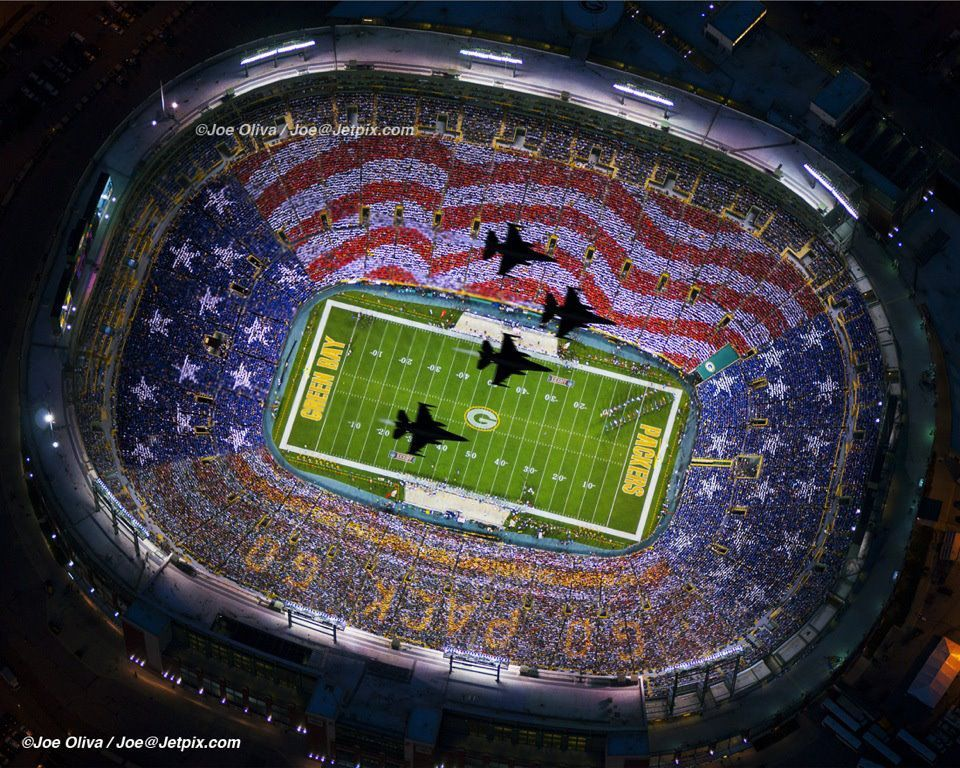 Picture Of The Jet Flyover Lambeau Field Baby Green Bay Packers Green Bay Packers Fans Lambeau Field