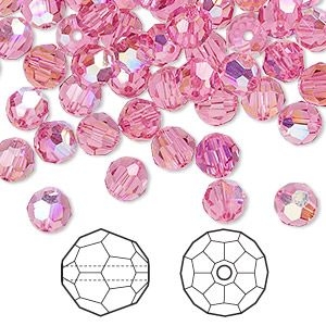 Bead, Swarovski® crystals, rose AB, 6mm faceted round (5000). Sold per pkg of 144 (1 gross).