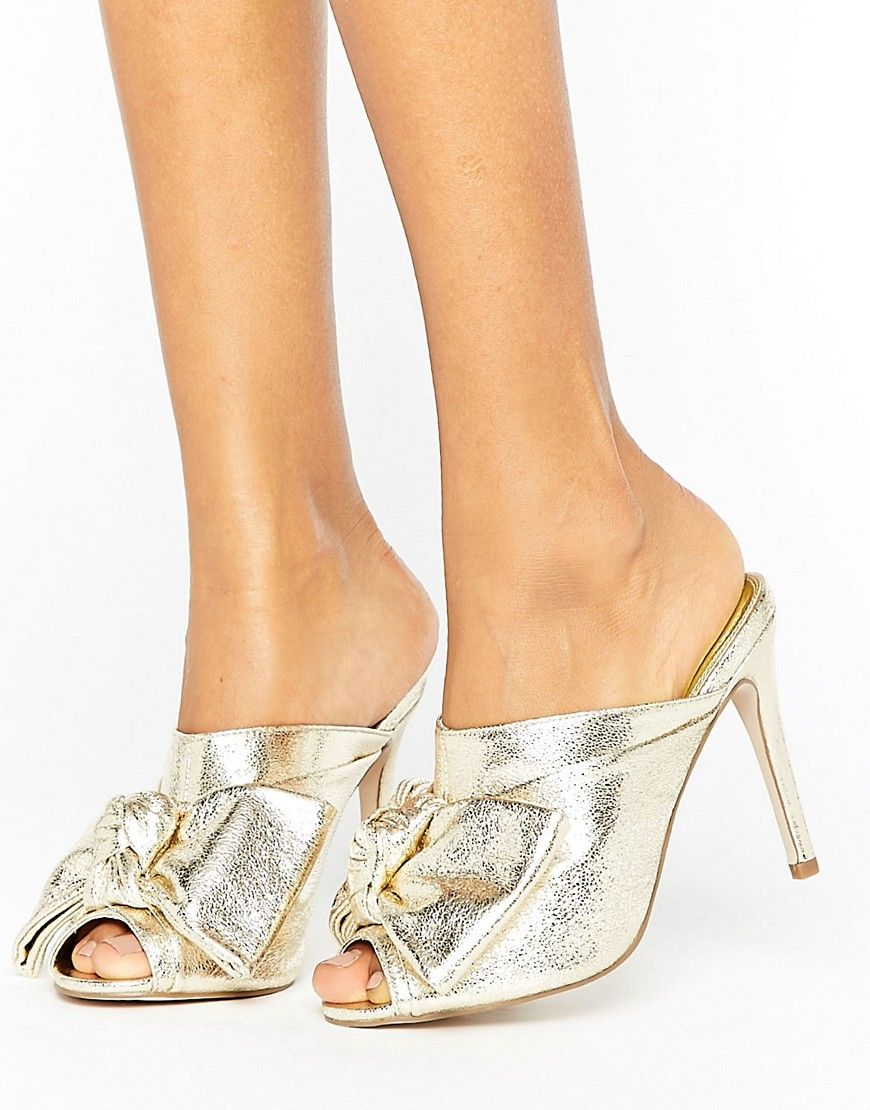 7a42015242c9 ASOS HAVOC High Heeled Mules - Gold