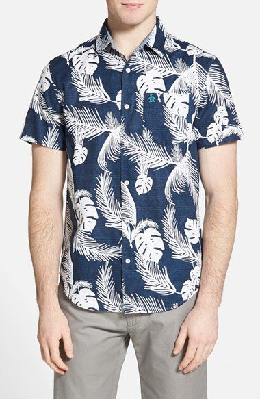 4d4645f4 Original+Penguin+Heritage+Slim+Fit+Short+Sleeve+Floral+Print+Sport+Shirt +available+at+#Nordstrom