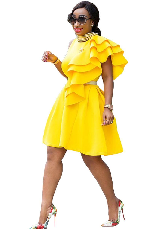 31bdda0f6 Yellow Layered Ruffle Sleeve Mini Dress Mini Dress Dresses Sexy Lingeire