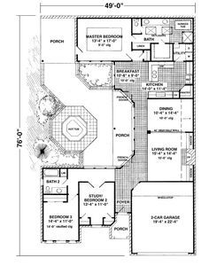 U shaped house plans with courtyard in middle google for U shaped home plans with courtyard