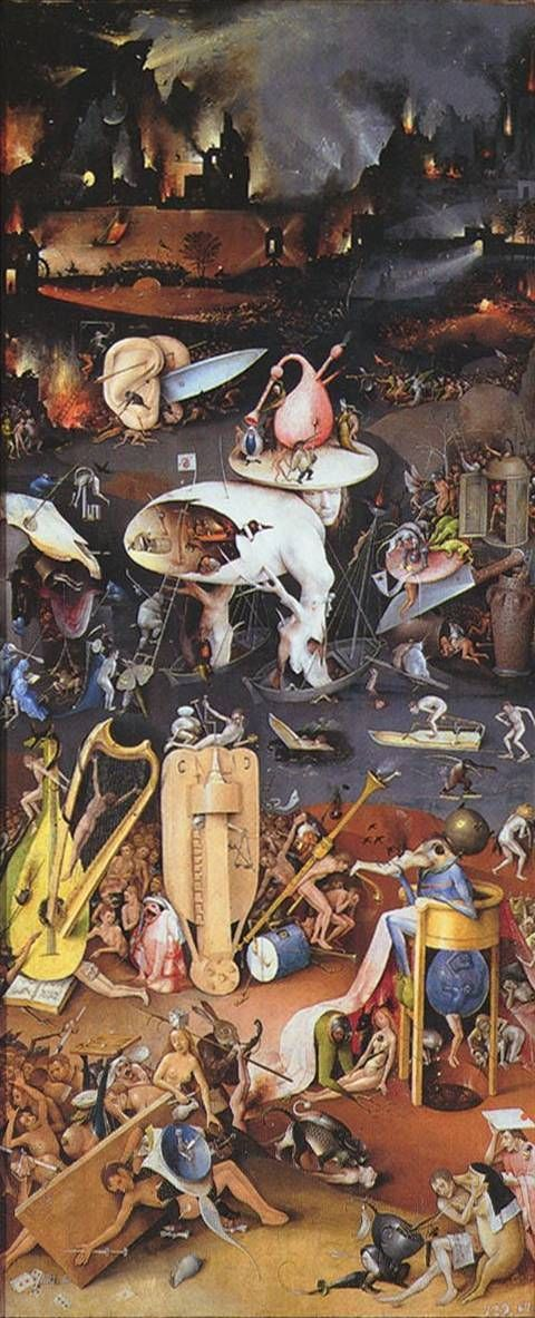 The Garden of Earthly Delights. Bosch's use of imagery helps the viewer realise how horrifying this scene actually is - in particular, his use of musical instruments as implements of torture. In Bosch's time, musical instruments were not only used to play music, but also played a role in literature and art. Different instruments have different connotations.