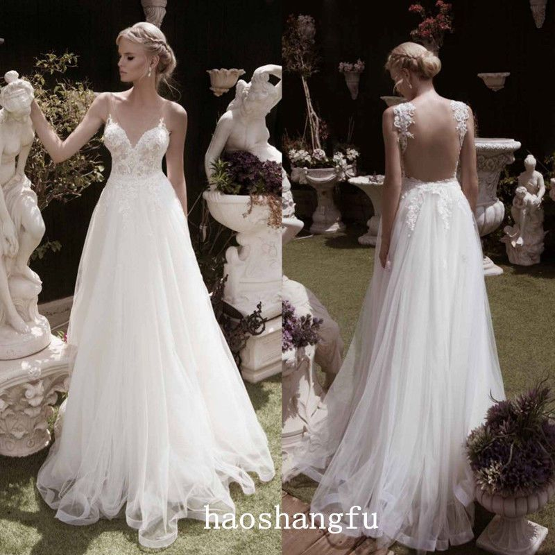 Funky Bridal Dresses Spaghetti Strap Wedding Gown Open Back Lace ...