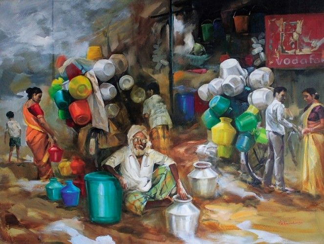 Market With Images Indian Artwork Realistic Paintings Indian