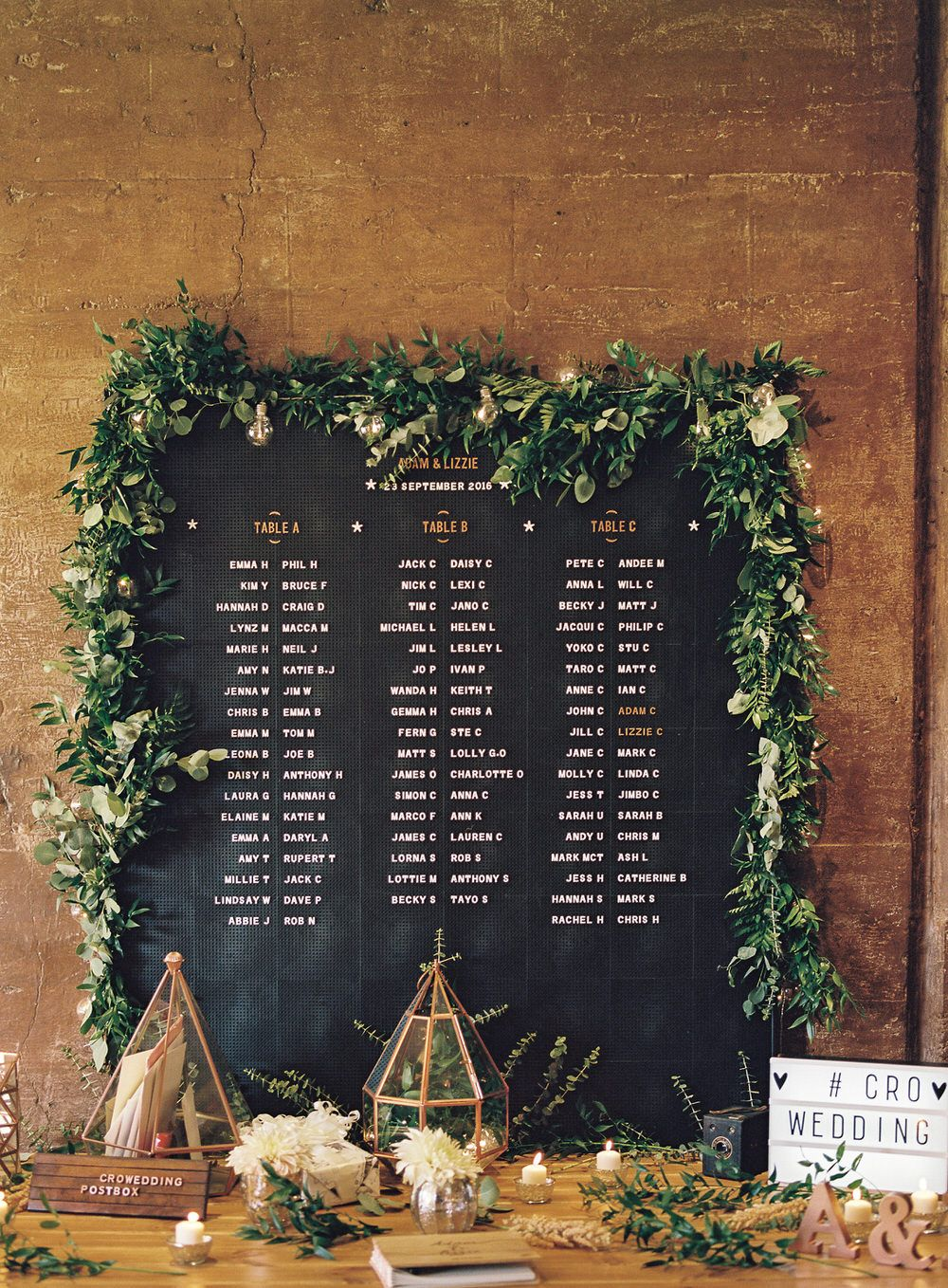 #crowedding Rose & Grey peg board table plan - Rose gold & blush pink outdoor wedding at Elmore Court. Anna Campbell gown, Cad & The Dandy Suit. Photography - Ann-Kathrin Koch. Film - WE ARE THE CLARKES.