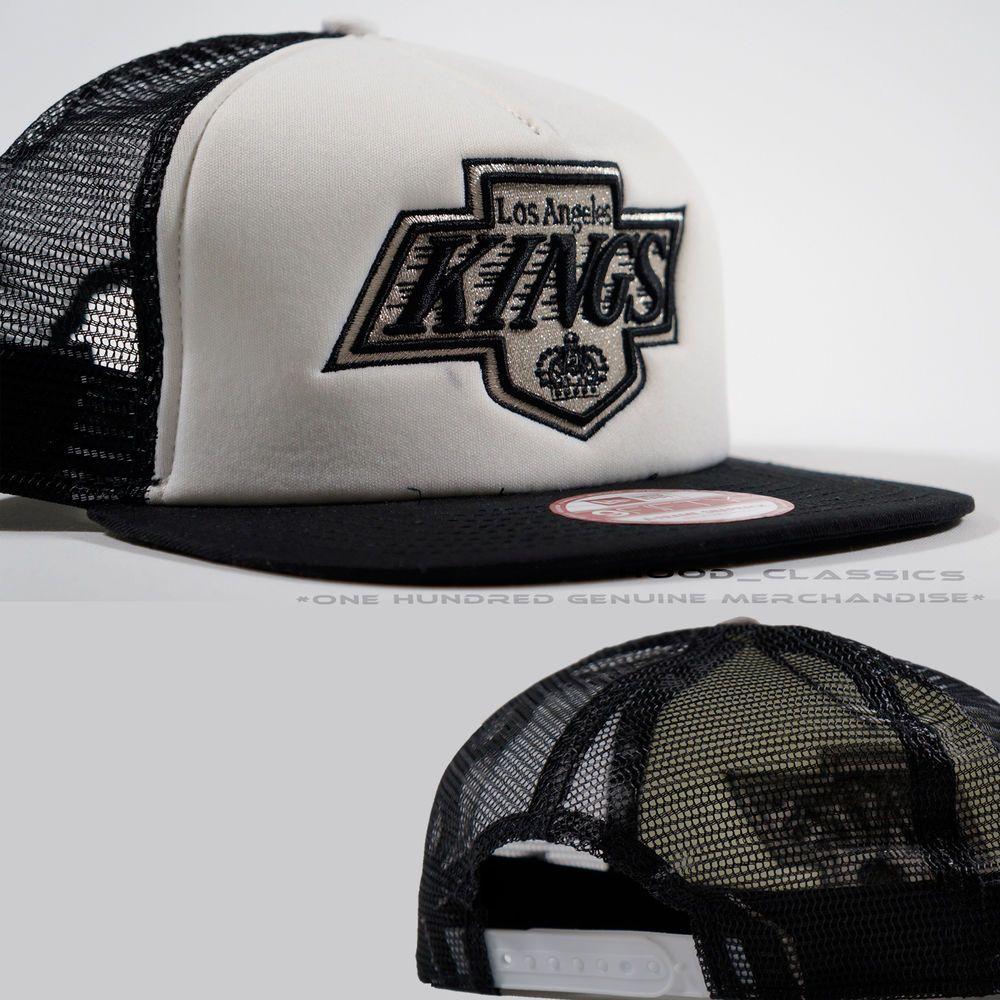 New Era Black White La Kings Snapback Trucker Hat Mash Baseball Cap Adjustable La Kings Trucker Hat New Era
