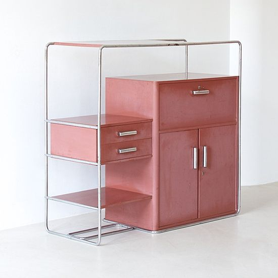 This looks like an incredibly useful piece with all the varied levels and drawers | Bruno Weil for Thonet