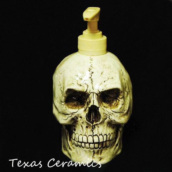 Creepy Aged Human Skull Soap Lotion Pump By Texasceramics On Etsy