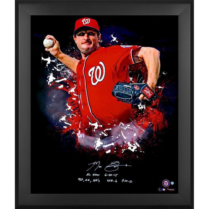 Max Scherzer Washington Nationals Fanatics Authentic Framed Autographed 20'' x 24'' In Focus Photograph with Multiple Inscriptions - Limited Edition #2-30 of 31