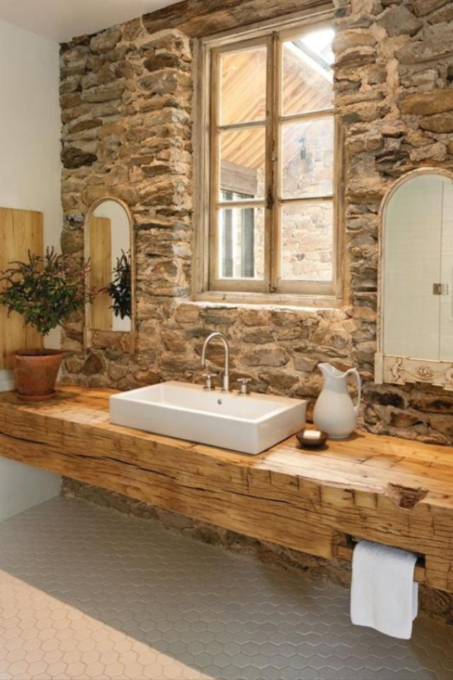 40 Spectacular Stone Bathroom Design Ideas: 40 Rustic Bathroom Designs