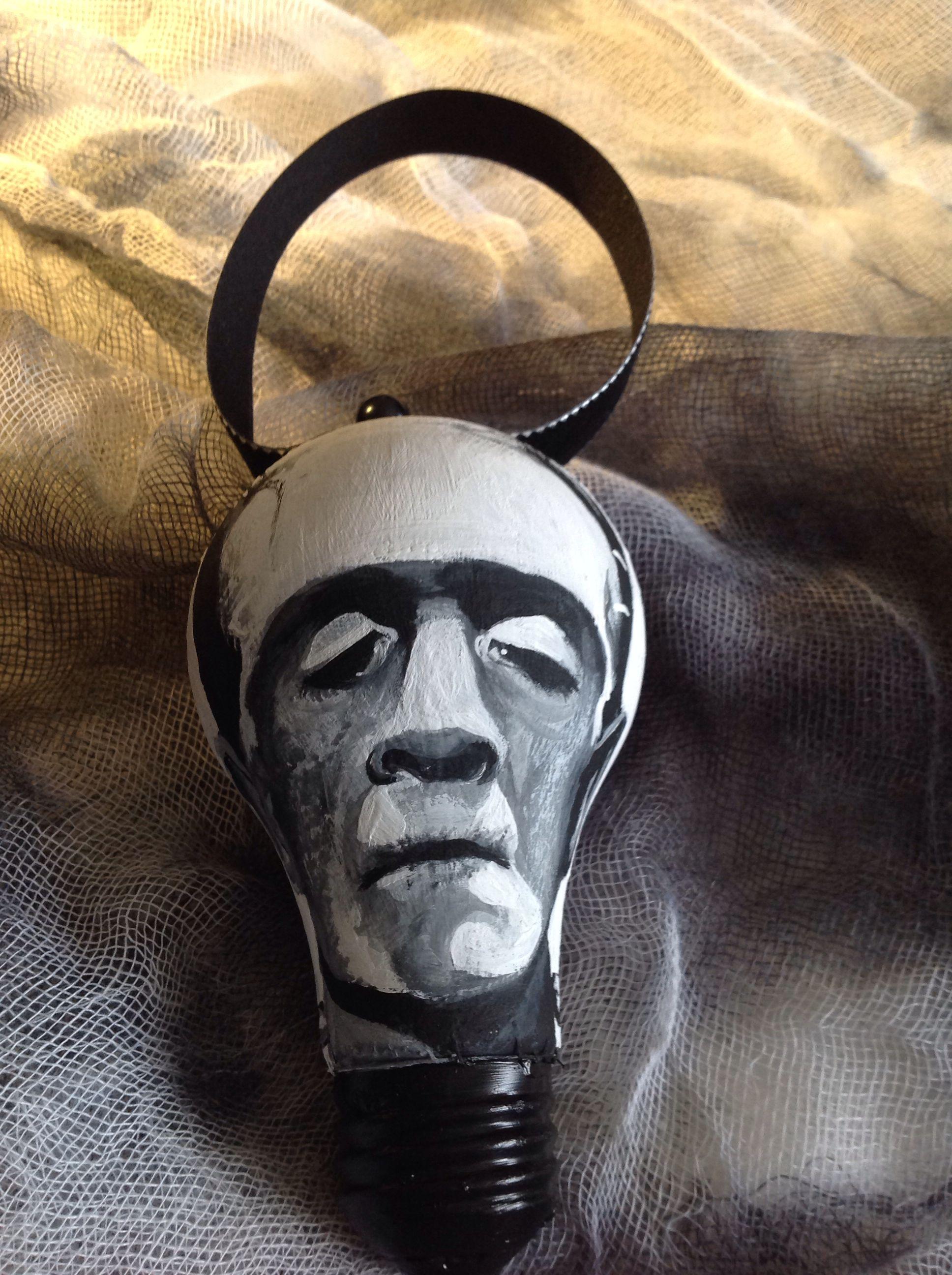 Frankenstein ornament using a burnt out light bulb ...