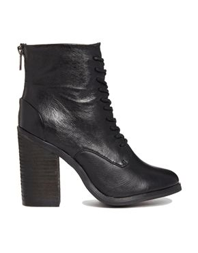 Shoemint Erin Leather Lace Up Heeled Boots