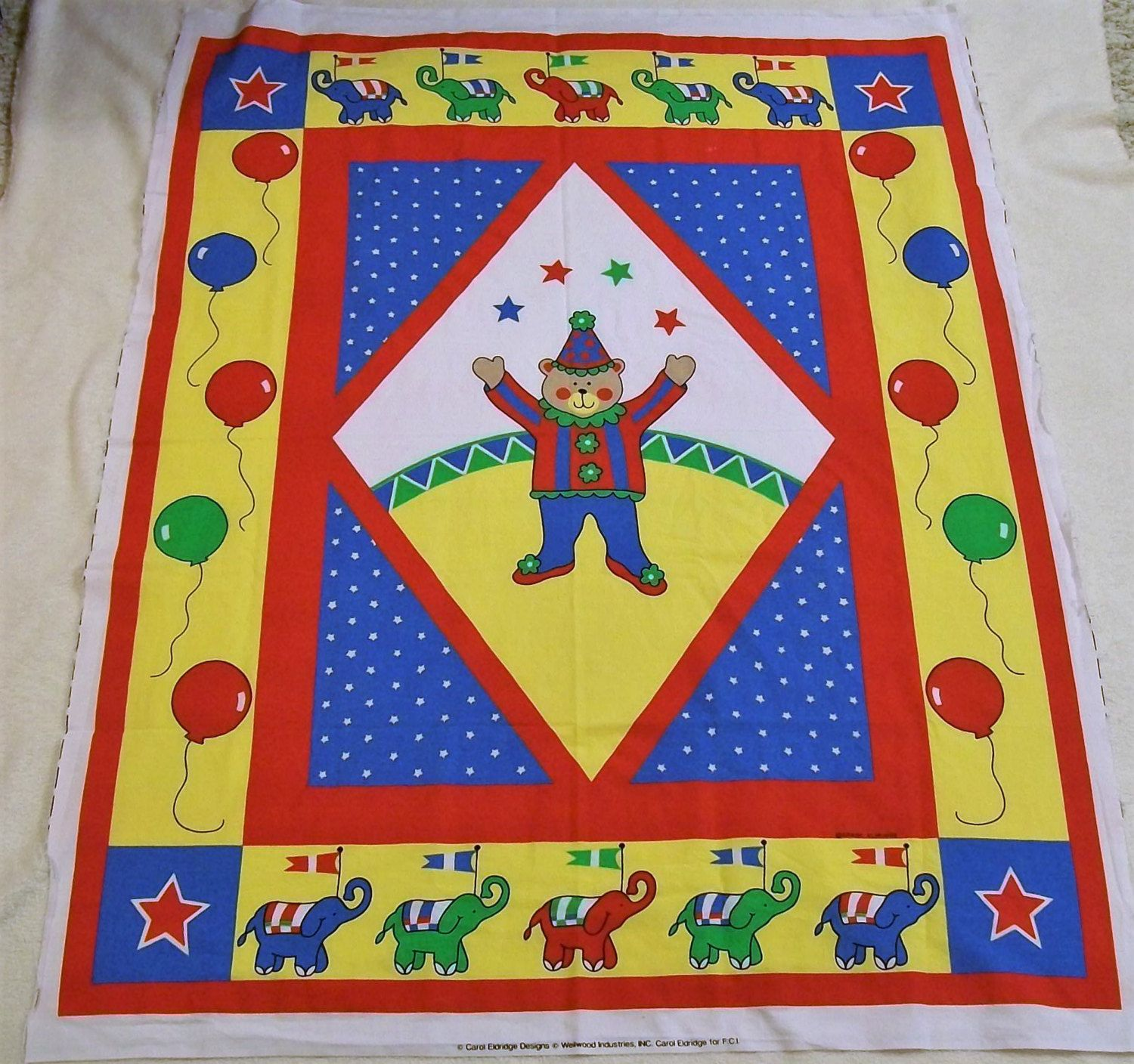Circus Quilt Panel Fabric Quilt Panel Vintage Circus