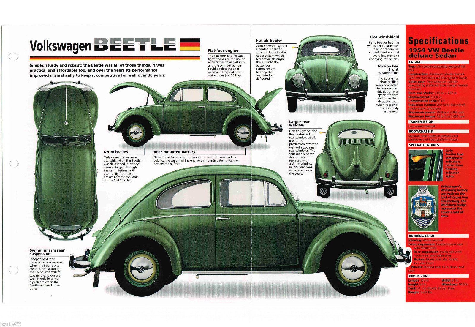 Vw Volkswagen Beetle Bug Imp Brochure 1953 1954 1955 Ebay Vw Vintage Volkswagen Escarabajo Volkswagen