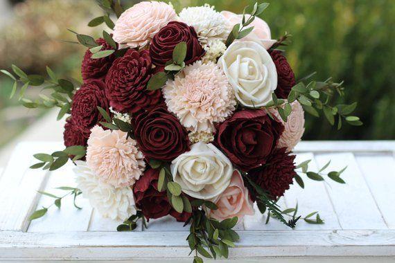 Marsala Blush Pink Sola Bouquet, wedding bouquet, bridal bouquet, Marsala blush bouquet, maro... #bridalflowerbouquets