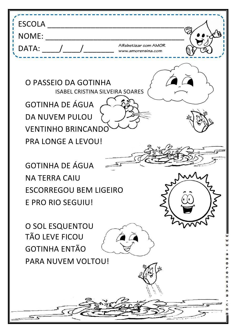 Conhecido Alfabetizar com AMOR: O PASSEIO DA GOTINHA! INTERDISCIPLINAR  VV23