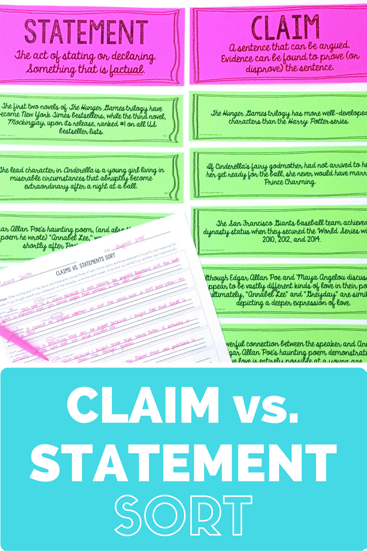 Claims Vs Statements Sort Activity For Middle School Teaching Writing Persuasive Writing Middle School Writing