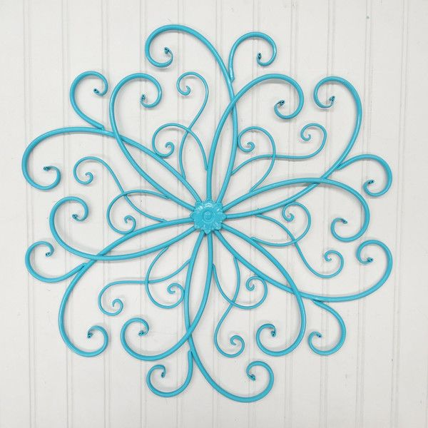 Wall Scroll/gray Scroll/blue Metal/wall Decor/faux Wrought Iron/
